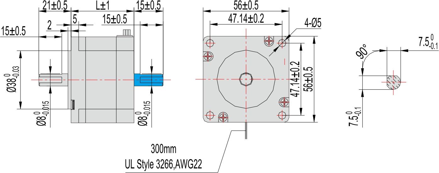 电动机 三相步进电机 □56mm   型号 电流 /相 电阻 /相 电感 /相 静