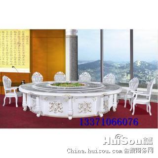 重庆实木火锅桌子,豪华电动桌餐台,多人中式实木电旋转餐桌价格