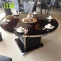 酒店圆桌玻璃桌不锈钢化玻璃餐桌 隐形隐藏式火锅桌电磁炉火锅桌