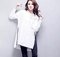 欧美大码女装 秋季纯棉衬衫白色衬衣女长袖拉链胖MM大码女装批发